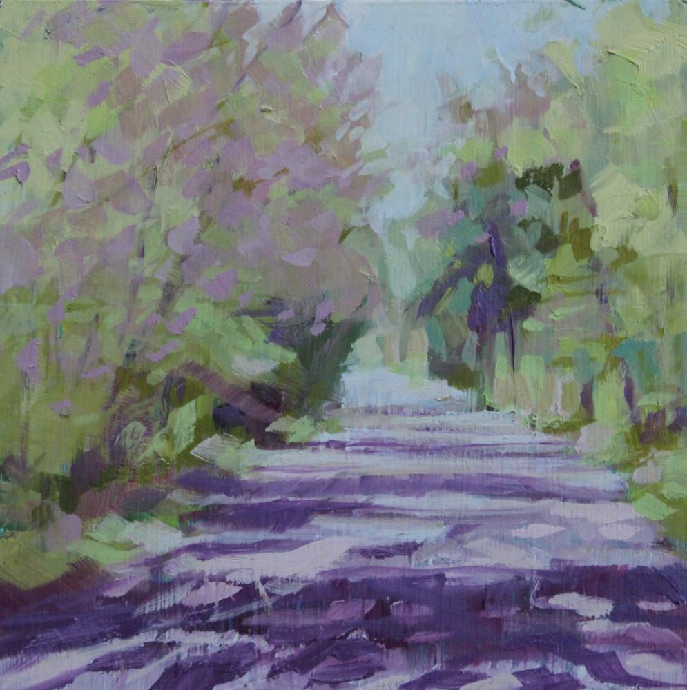 """South Road Spring"", oil on panel, 6x6"